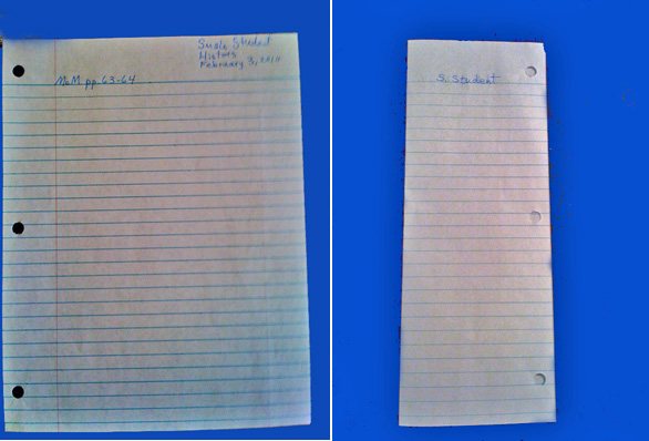 One way to prepare notebook paper for written work