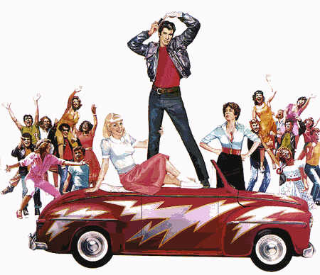 Advertisement for Grease, 1978 movie depicting high school life in which teen car culture takes precedent over the academic aspects of adolescent development.