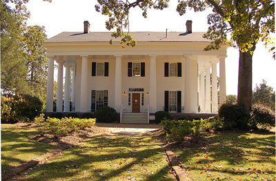 Barrington Hall, North/front side, circa 1842 example of Greek Revival Temple Architecture, National Register of Historic Places, Roswell, Georgia, USA --Galen Parks Smith