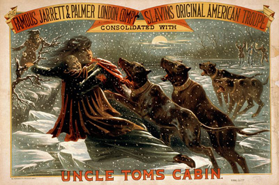 This 1881 poster shows Eliza pursued by dogs that are not Bloodhounds.