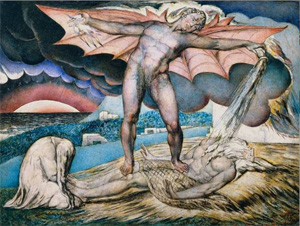 Satan Smiting Job with Sore Boils -- William Blake