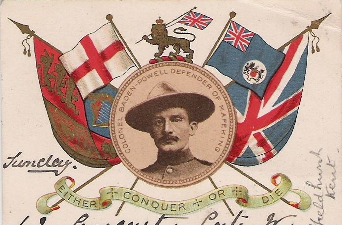 Robert Baden-Powell, hero of Maefeking and Founder of the Boy Scouts (postcard in the public domain)