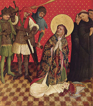 Thomas Becket being murdered by four knights of Henry II, December 29, 1170.