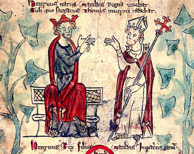 A sketch of King Henry II and Thomas Becket disagreeing over the separation of church and state.