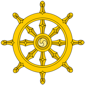 Buddhist symbol of the Dharma Wheel. Dharma is moral law. The person who lives according to Dharma proceeds more quickly towards Nirvana.