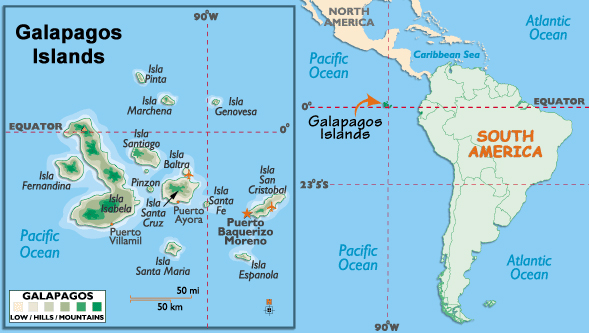 The Galapagos Islands lie in the Pacific Ocean, off the coast of Ecuador.