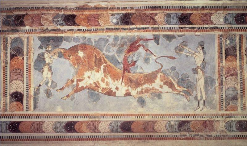 Fresco of dancers and bull