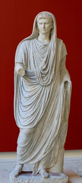 The Emperor Augustus dressed as a priest to perform his duties as Pontifex Maximus. Constantine held the same religious office.