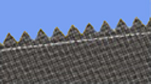 A fabric edge cut with pinking shears