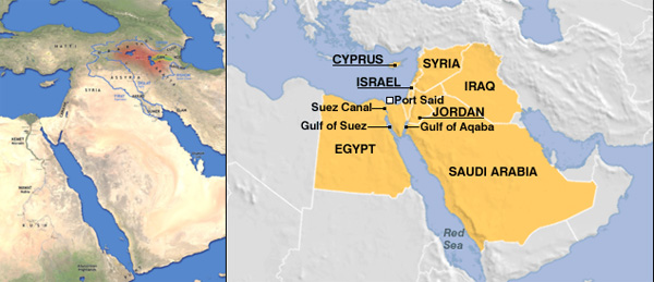 On the left: suggested location of the Garden of Eden according to British Egyptologist David M. Rhol. On the right: the corresponding area in the 21st century.