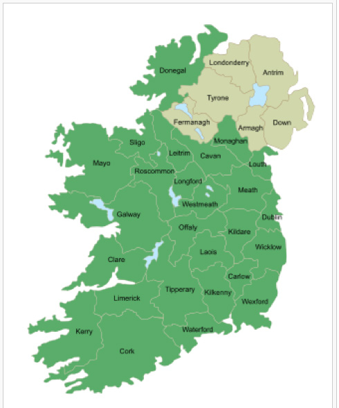 The 32 counties of Ireland