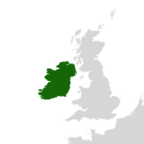 Ireland lies to the west of the United Kingdom