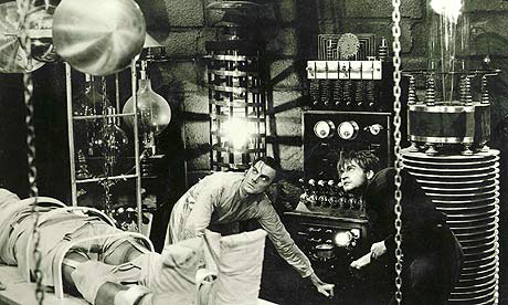 Dr. Frankenstein harnesses electrical energy to galvanize a corpse