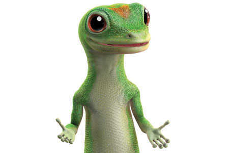 The friendly, commonsensical Geico lizard speaks a non-standard dialect of British English.