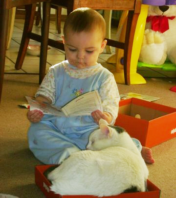 Very young child reading
